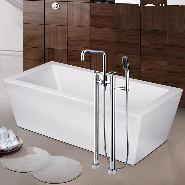 Contemporary Art Deco/Retro Modern Tub And Shower Waterfall Widespread Floor Standing Ceramic Valve Two Handles Two Holes Chrome, Bathtub