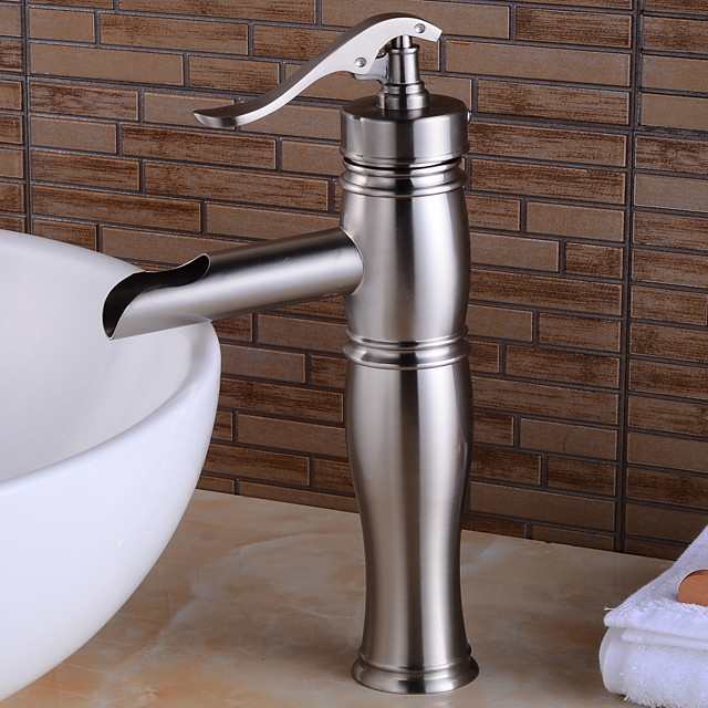 Antique Copper Bathroom Sink Faucet,Sensor Nickel Brushed Vessel Single Handle One Hole Bath Taps with Hot and Cold Switch and Ceramic Valve