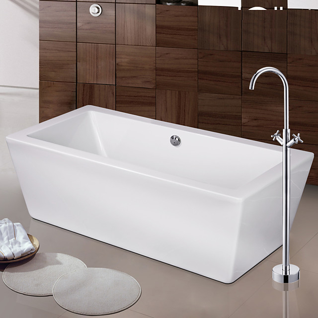 Contemporary Art Deco/Retro Modern Tub And Shower Waterfall Widespread Floor Standing Ceramic Valve Two Handles One Hole Chrome, Bathtub