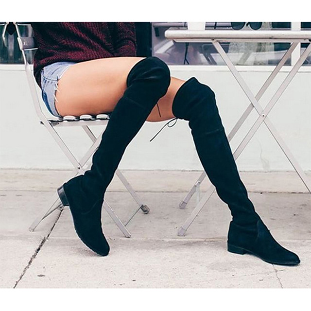 Women's Shoes PU Winter Comfort / Combat Boots Boots Walking Shoes Low Heel Round Toe Lace-up Black