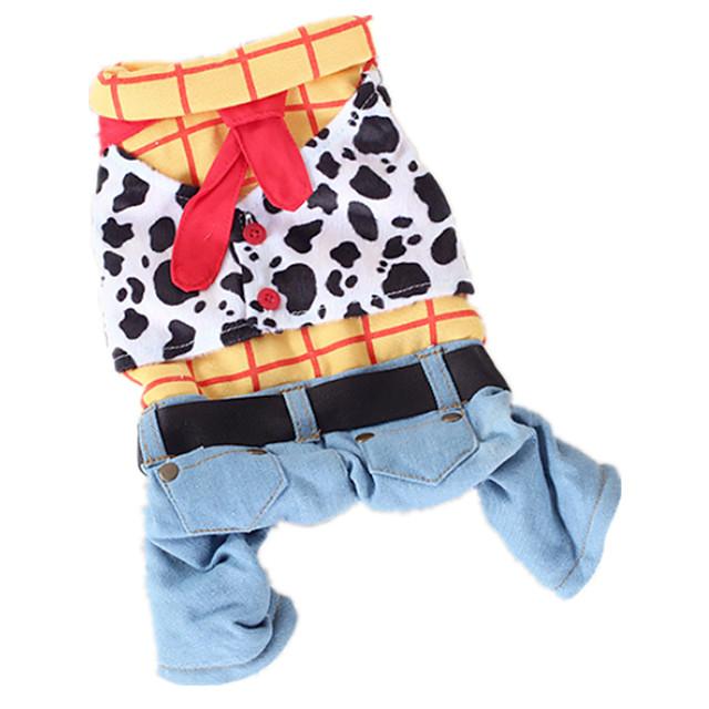 Dog Costume Jumpsuit Winter Dog Clothes Warm Rainbow Costume Cotton Jeans Cowboy Fashion S M L