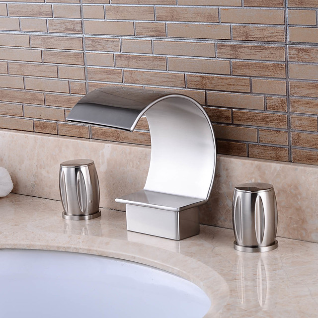 Two Handles Bathroom Faucet,Silvery Three Holes Deluxe Waterfall Chrome Polished Widespread Brass Bathroom Sink Faucet With Cold and Hot Switch