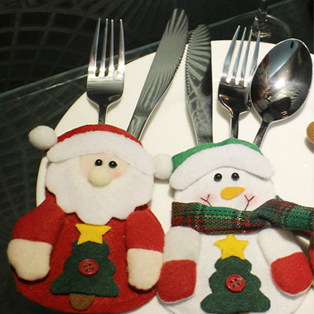 3PCS Christmas Products Santa Claus Table Tableware Bag Pattern Is Random