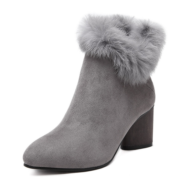 Women's Boots Other Fleece Microfibre Fur Office & Career Dress Party & Evening Chunky Heel Zipper Black Gray