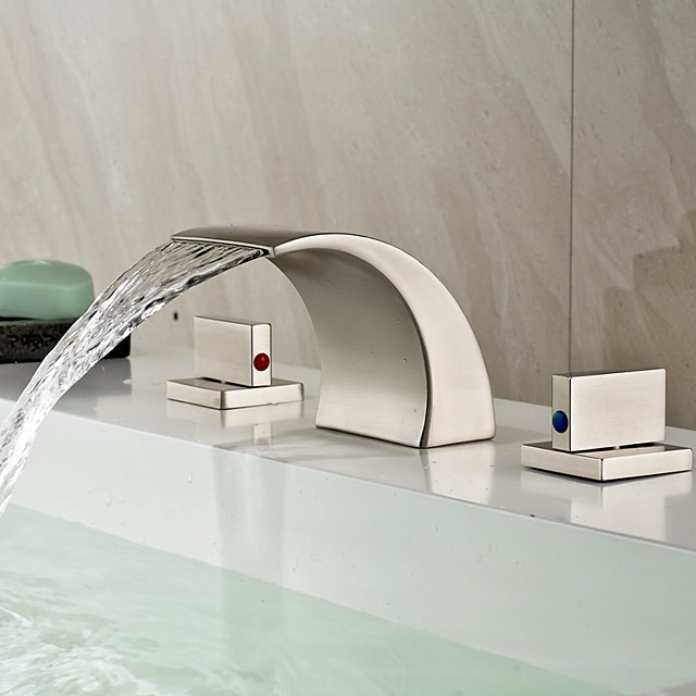 Brass Bathroom Sink Faucet,Two Handles Three Holes Waterfall Nickel Brushed Widespread Bath Taps with Hot and Cold Water