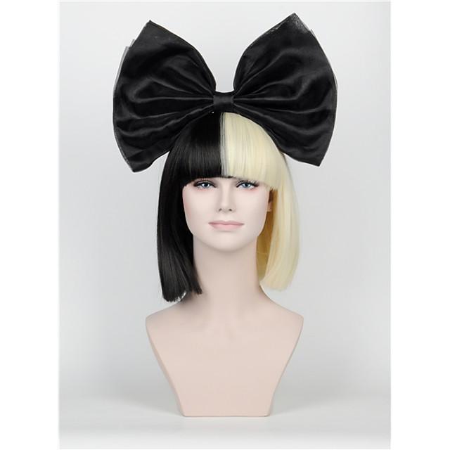 Synthetic Wig Straight Kardashian Straight Bob With Bangs Wig Short Natural Black Synthetic Hair Women's Black