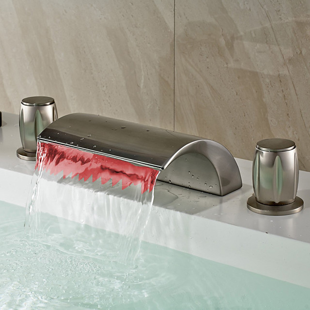 Contemporary Widespread Waterfall LED Ceramic Valve Two Handles Three Holes Nickel Brushed, Bathroom Sink Faucet