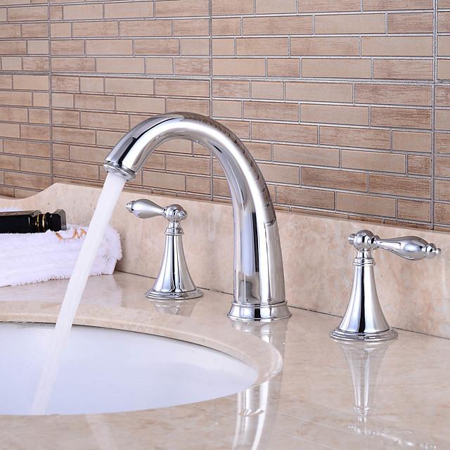 messing badkamer wastafel kraan, waterval chroom wijdverbreid twee handgrepen drie gaten bad kranen met zinklegering handvat, warm en koud schakelaar en keramische klep
