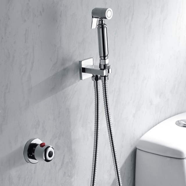 Shower Faucet Set Self Cleaning Contemporary Modern Chrome Handheld Bidet Sprayer Brass Valve Bath Shower Mixer Taps Single Handle Two Holes 3726779 2020 99 99