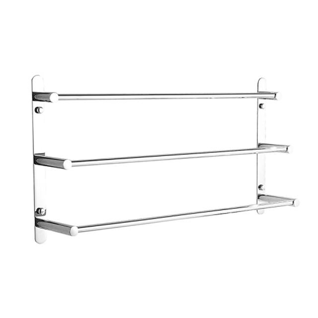вешалки для полотенец нержавеющая сталь 3-х уровневая вешалка для полотенец настенное крепление зеркальная полировка серебристая 60 / 70см