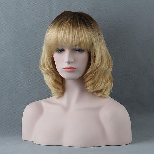 Human Hair Wig Short Straight Bob Short Hairstyles 2020 With Bangs Straight Ombre Dark Roots Women's Medium Auburn Medium Auburn / Bleach Blonde Beige Blonde / Bleached Blonde 14 inch
