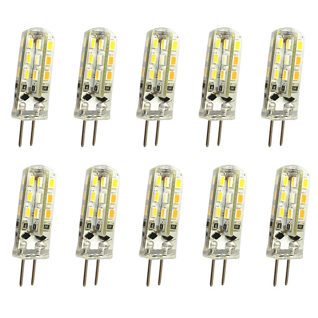 10pcs 20pcs G4 1W LED Bi-pin Lights 120 lm 24 LED Beads 12V 3014SMD 10W 20W Halogen Bulb Equivalent Warm White Cold White RoHS