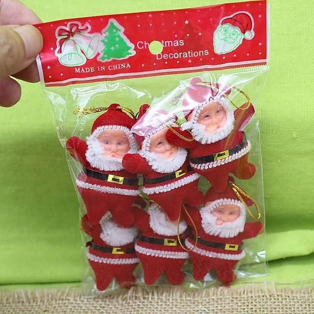 Christmas Tree Ornaments Santa Suits Carbon Fiber Plastic Nylon Adults' Toy Gift 6 pcs