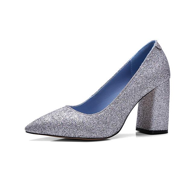 Для женщин Обувь Лак Весна Лето Осень Обувь на каблуках На толстом каблуке Заостренный носок Пайетки для Свадьба Повседневные Для