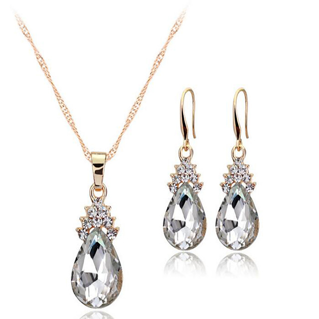 Women's Crystal Jewelry Set Solitaire Drop Ladies European Earrings Jewelry White / Red / Blue For Wedding Party Daily