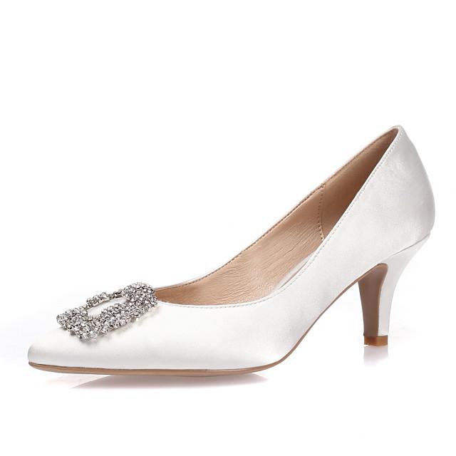 Women's Heels Stiletto Heel Pointed Toe Rhinestone / Crystal / Sparkling Glitter Silk Spring / Summer / Fall Royal Blue / White / Black / Wedding / Party & Evening / EU37