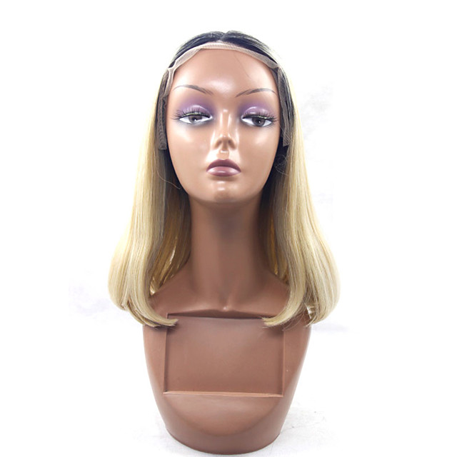 Synthetic Wig Straight Straight Lace Front Wig Blonde Black / Honey Blonde Synthetic Hair Blonde