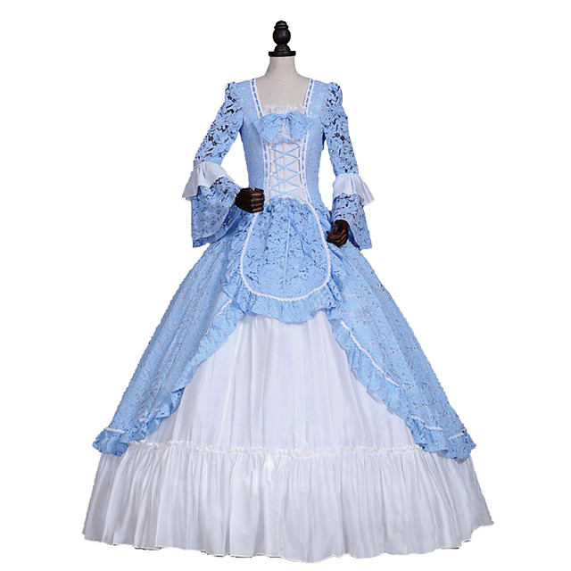 Princess Rococo Elegant Victorian Dress Women's Girls' Lace Cotton Party Prom Japanese Cosplay Costumes Plus Size Customized Blue Ball Gown Floral Long Sleeve Long Length