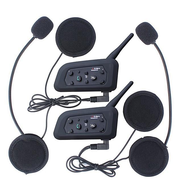 2Pcs 1200M Waterproof Motorcycle Helmet Interphone Bluetooth Intercom Headset V6 Intercom Intercomunicador Moto Interfones Helmet Headset