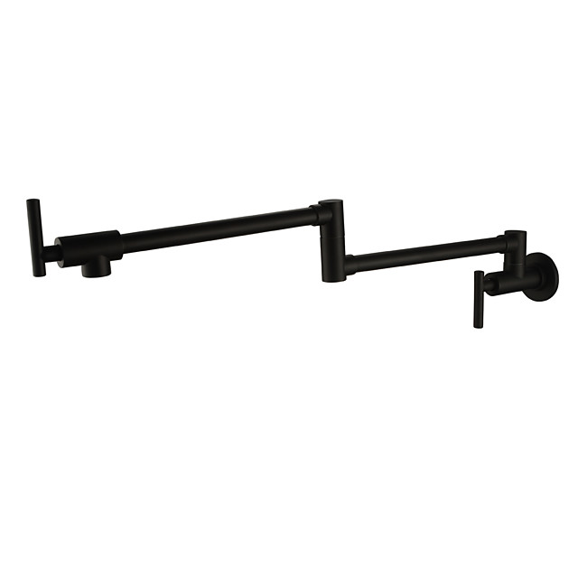 Kitchen faucet - Two Handles One Hole Oil-rubbed Bronze Pot Filler Wall Mounted Traditional Kitchen Taps