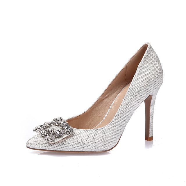Women's Heels Glitter Crystal Sequined Jeweled Stiletto Heel Pointed Toe / Closed Toe Rhinestone / Crystal Glitter / Leatherette Spring / Summer Gold / White / Silver / Wedding / Party & Evening