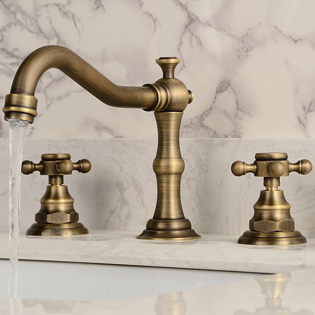 Two Handles Bathroom Faucet, Antique Brass Three Holes Widespread/Centerset Bath Taps, Brass Bathroom Sink Faucet Contain with Supply Lines