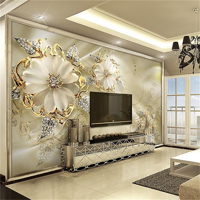 3D Gold Flower Diamond Modern Bling Wall Mural Wallpaper Living Room Bedroom