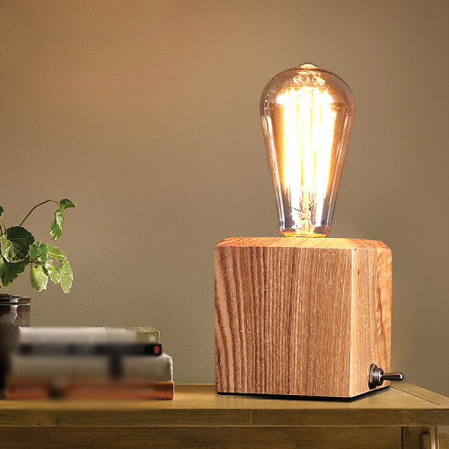 Nordic Mediterranean Style Fumigated Wood Desk Lamp For Reading Room Bedroom Wooden Art Edison Bulb Table Lamp 4918838 2021 66 69
