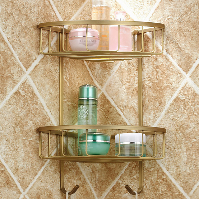 Bathroom Shelf Antique Brass Hotel bath / Matte Brass