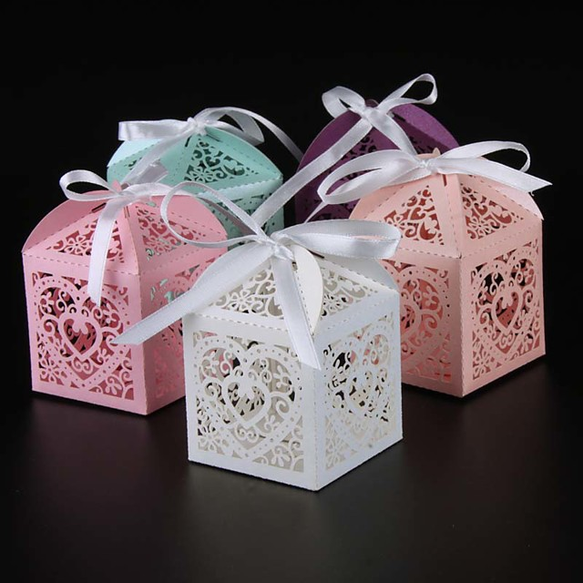 Round / Square / Cuboid Pearl Paper Favor Holder with Ribbons / Printing Favor Boxes - 25
