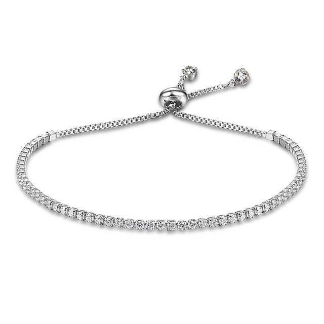 Women's Chain Bracelet Tennis Bracelet Drop Ladies Natural Sterling Silver Bracelet Jewelry Gold / Silver For Gift Valentine