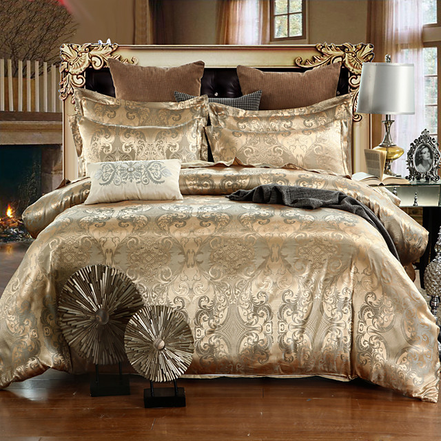 Duvet Cover Sets Luxury Silk / Cotton Jacquard 4 Piece Bedding Set With Pillowcase Bed Linen Sheet Single Double Queen King Size Quilt Covers Bedclothes