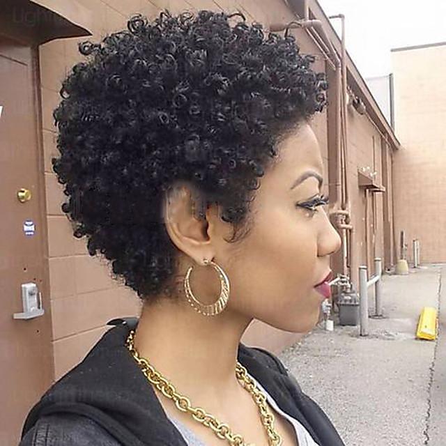 Human Hair Blend Wig Short Curly Pixie Cut Short Hairstyles 2020 Berry Curly Natural Black For Black Women Machine Made Women S Natural Black 1b Medium Brown Dark Wine 5569938 2021 25 26
