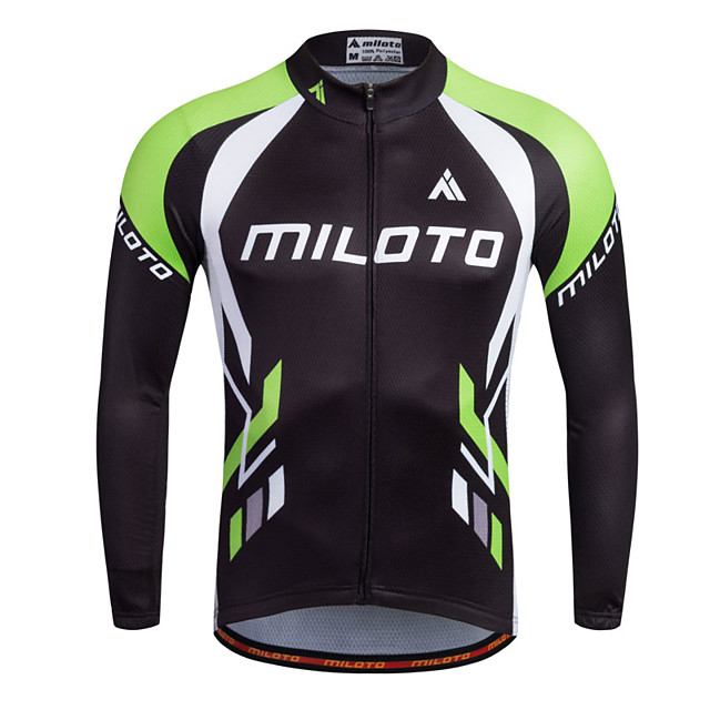Miloto Men's Long Sleeve Cycling Jersey Stripes Bike Shirt Sweatshirt Jersey Mountain Bike MTB Road Bike Cycling Breathable Quick Dry Reflective Strips Sports 100% Polyester Clothing Apparel