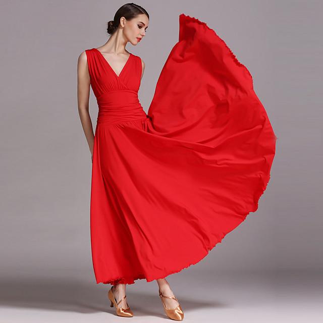 Ballroom Dance Dress Draping Women's Performance Sleeveless Viscose