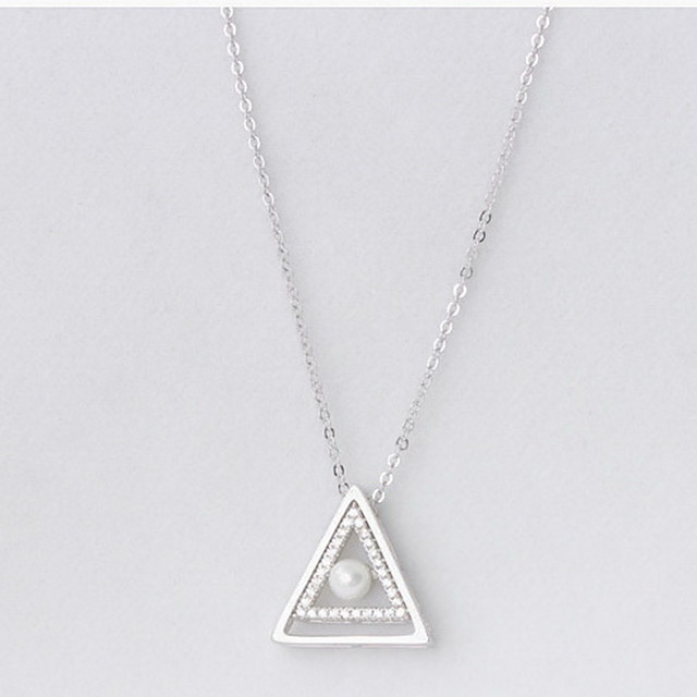 925 Sterling Silver Triangle Pendant Necklace for Men and Women for Evening and Everyday Stylish Geometric Daily Necklace