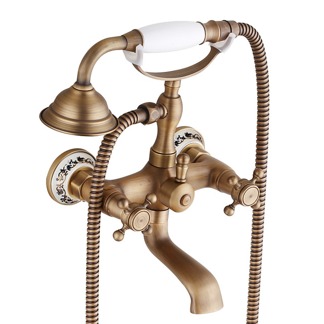 Bathroom Wall Mounted Mixer Tub Filler Shower Faucet Sets,Telephone Shaped Handheld Shower Tub Faucet,Double Crosss Handle