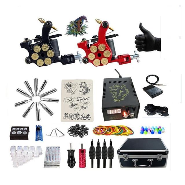 BaseKey Professional Tattoo Kit Tattoo Machine - 2 pcs Tattoo Machines, Professional 20 W LED power supply 2 alloy machine liner & shader / Case Included