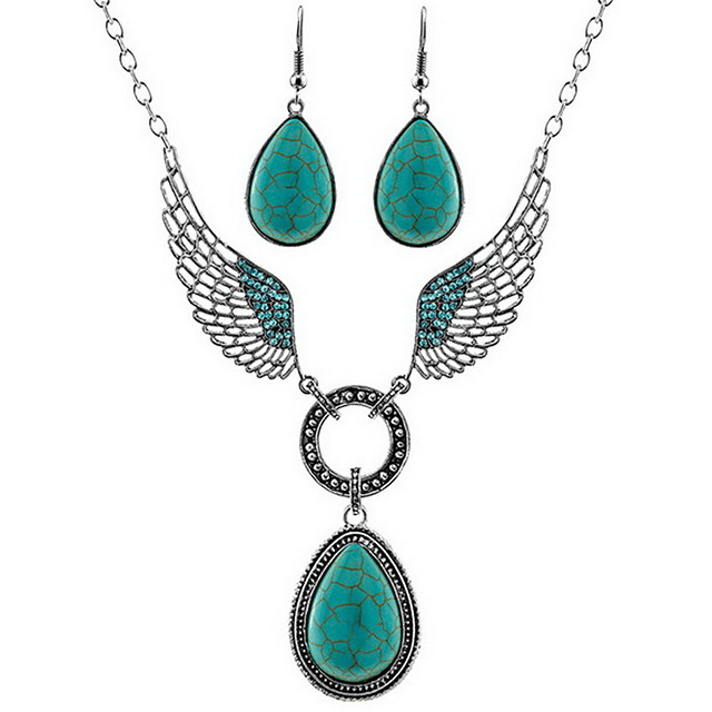 Turquoise Jewelry Set Basic Earrings Jewelry Green For Daily