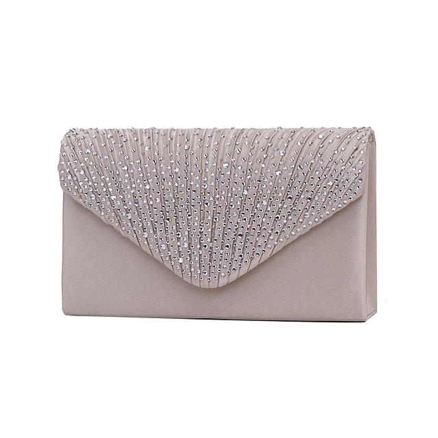 Women's Bags Polyester Evening Bag Tri-fold Crystal / Rhinestone Glitter Shine Party Wedding Event / Party Evening Bag Wedding Bags Handbags Wine Black Almond Silver