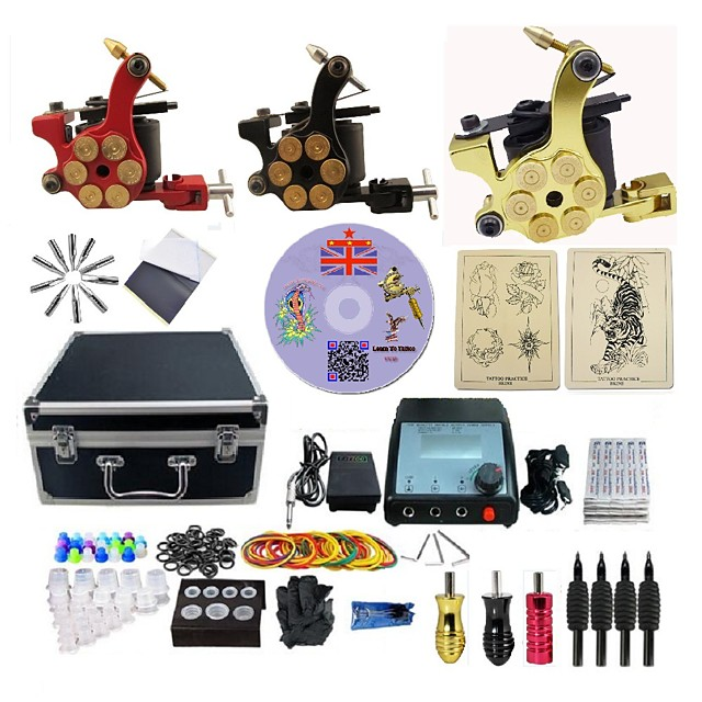 BaseKey Professional Tattoo Kit Tattoo Machine - 3 pcs Tattoo Machines LED power supply 3 alloy machine liner & shader / Case Included