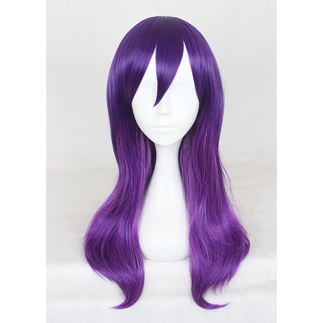 Synthetic Wig Wig Medium Length Purple Synthetic Hair Purple