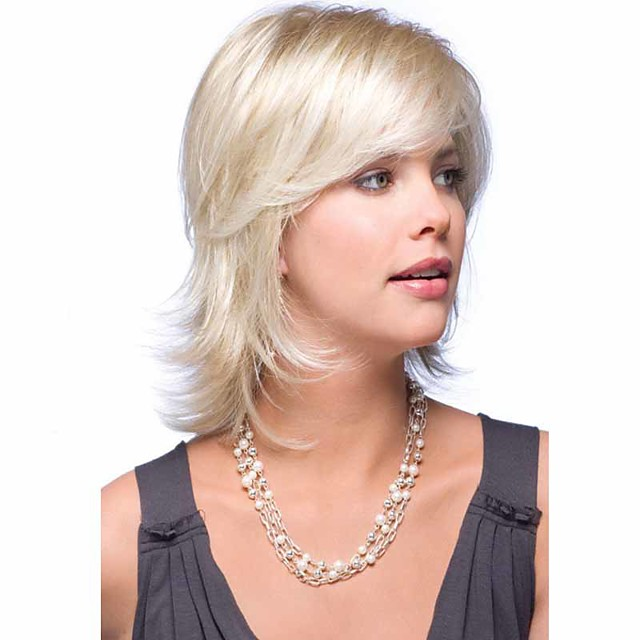Synthetic Wig Curly Curly Wig Blonde Medium Length Blonde Synthetic Hair Blonde