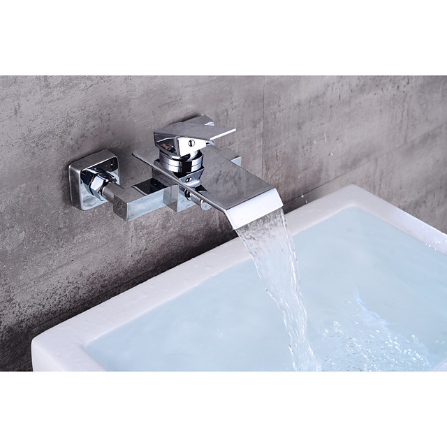 Bathtub Faucet Contemporary and Waterfall  Wall Mounted Ceramic Valve Chrome Bath Shower Mixer Taps with Cold and Hot Water