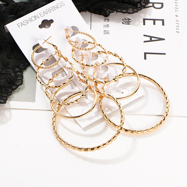 Women's Hoop Earrings Ladies Basic Punk Hip-Hop Earrings Jewelry Gold For Wedding Party Daily Casual 10pcs