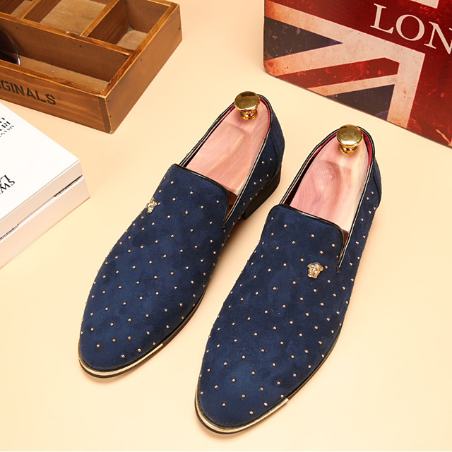 Men's Dress Shoes Spring / Fall Business / Classic Wedding Daily Party & Evening Loafers & Slip-Ons Walking Shoes Leather Wear Proof Blue / Black / Beading / Office & Career / EU40
