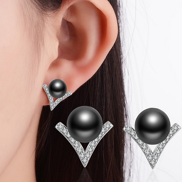 Women's Cubic Zirconia Tahitian pearl Stud Earrings Ladies Classic everyday Imitation Pearl Rhinestone Black Pearl Earrings Jewelry White / Black For Wedding Party Special Occasion Thank You Business