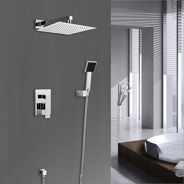 Shower Set Set - Rainfall Modern Chrome Wall Mounted Ceramic Valve Bath Shower Mixer Taps / Brass / Single Handle Four Holes