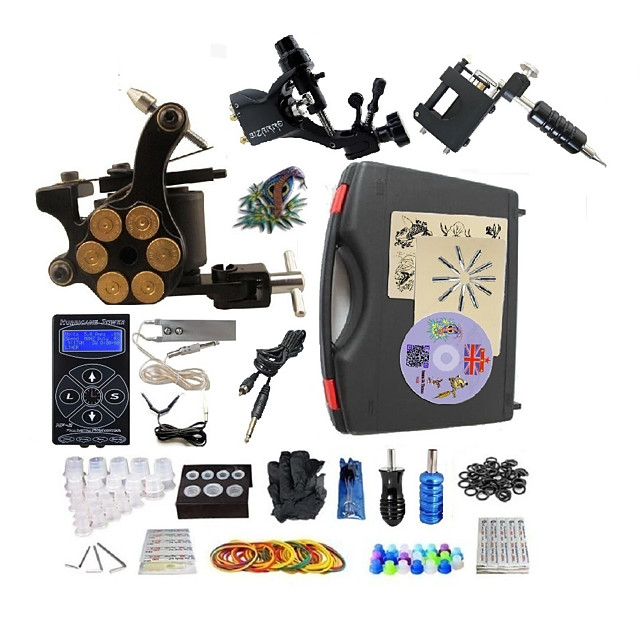 BaseKey Professional Tattoo Kit Tattoo Machine - 3 pcs Tattoo Machines LED power supply 1 steel machine liner & shader / 2 alloy machine liner & shader / Case Included