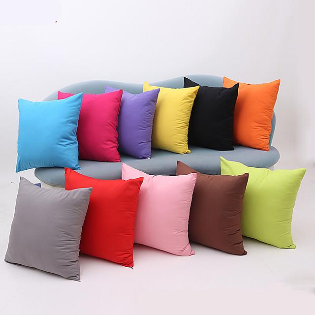 1 pezzo di fodera per cuscino in cotone, tinta unita multicolore semplice cerniera quadrata tradizionale cuscino da esterno classico per divano divano letto sedia color caramella
